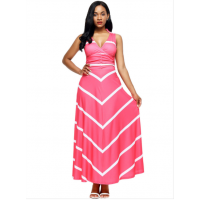 Women Maxi Striped Sexy V Neck Sleeveless High Waist Elegant Dress WC-69PK