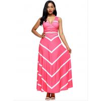 Women Maxi Striped Sexy V Neck Sleeveless High Waist Elegant Dress WC-69PK
