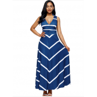 Women Maxi Striped Sexy V Neck Sleeveless High Waist Elegant Dress WC-69BL