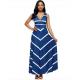 Women Maxi Striped Sexy V Neck Sleeveless High Waist Elegant Dress WC-69BL image