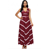 Women Maxi Striped Sexy V Neck Sleeveless High Waist Elegant Dress WC-69RD