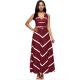Women Maxi Striped Sexy V Neck Sleeveless High Waist Elegant Dress WC-69RD