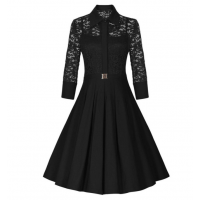 Women's New Retro Hepburn Stitching Slim Lace Half Sleeve Dress WC-70BK