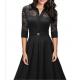 Women's New Retro Hepburn Stitching Slim Lace Half Sleeve Dress WC-70BK image