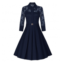 Women's New Retro Hepburn Stitching Slim Lace Half Sleeve Dress WC-70BL