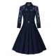 Women's New Retro Hepburn Stitching Slim Lace Half Sleeve Dress WC-70BL