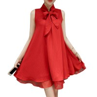 Womens New European Root Yarn Bow knot Red Color Chiffon Dress WC-72RD