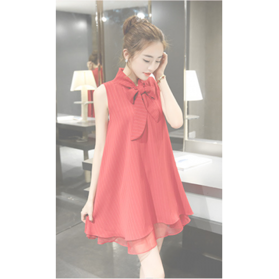 Womens New European Root Yarn Bow knot Red Color Chiffon Dress WC-72RD |image
