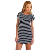 Women Striped Sea Soul Waist Round Neck Short Mini Dress WC-76BK
