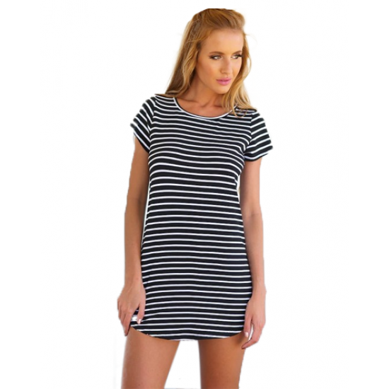 Women Striped Sea Soul Waist Round Neck Short Mini Dress WC-76BK image