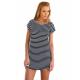 Women Striped Sea Soul Waist Round Neck Short Mini Dress WC-76BK