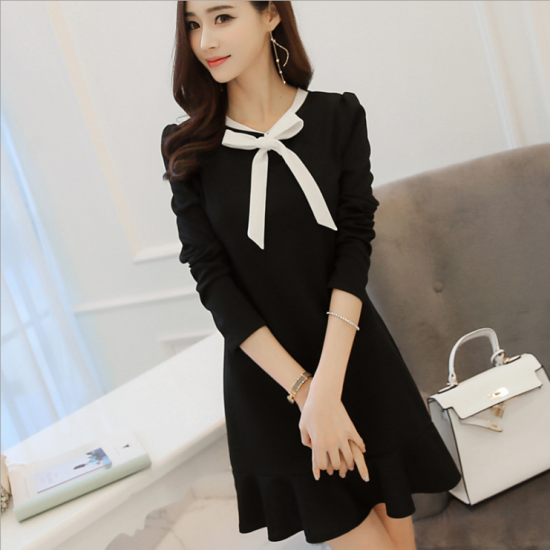 Women's New Slim Bow Knot Long Sleeve Round Neck Skirt Dress WC-73BK image