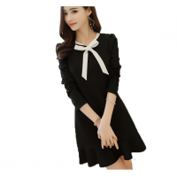Women's New Slim Bow Knot Long Sleeve Round Neck Skirt Dress WC-73BK