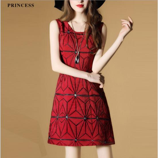 Ladies Luxury Sleeveless Jacquard Slim Stitching Pencil Dress WC-74RD image