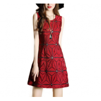 Ladies Luxury Sleeveless Jacquard Slim Stitching Pencil Dress WC-74RD