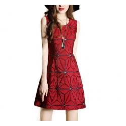 Ladies Luxury Sleeveless Jacquard Slim Stitching Pencil Dress WC-74RD