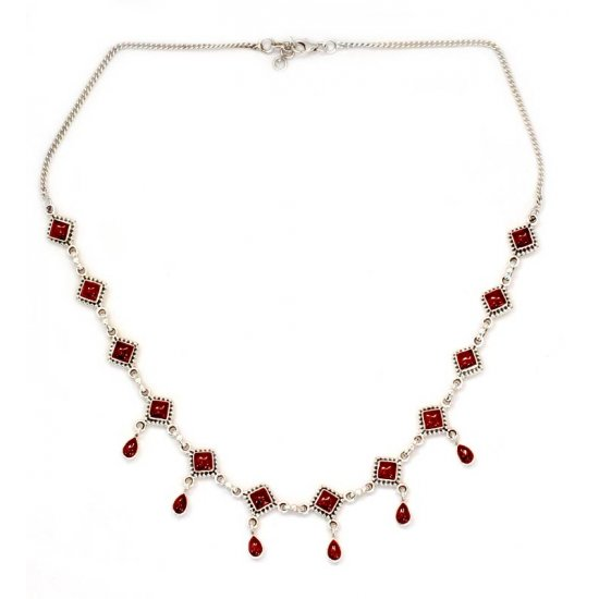 Queen of Diamonds Garnet Necklace Sterling Silver Jewelry from India ANDN-29