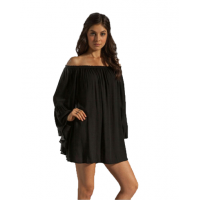 New Off the Shoulder Loose Women Chiffon Long Sleeve Shirt WC-77BK