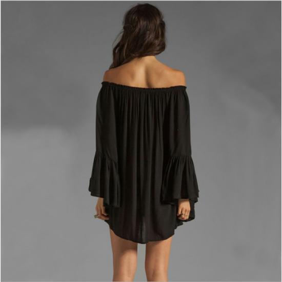 New Off the Shoulder Loose Women Chiffon Long Sleeve Shirt WC-77BK