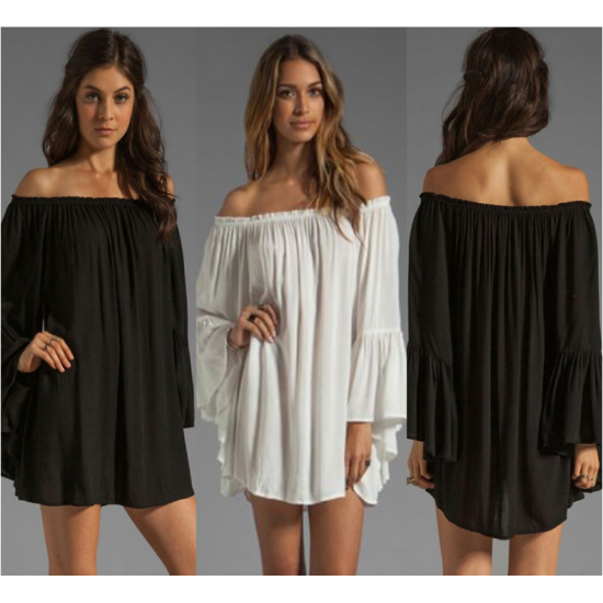 New Off the Shoulder Loose Women Chiffon Long Sleeve Shirt WC-77BK image