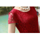New Elegant Lace Designed Chiffon Big Pendants Short Sleeved Long Section Dress WC-71RD image
