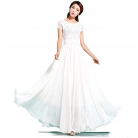 New Elegant Lace Designed Chiffon Big Pendants Short Sleeved Long Section Dress WC-71W