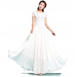548b4899cd1c3 New Elegant Lace Designed Chiffon Big Pendants Short Sleeved Long Section Dress  WC-71W