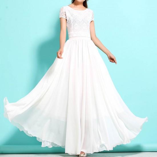 New Elegant Lace Designed Chiffon Big Pendants Short Sleeved Long Section Dress WC-71W image