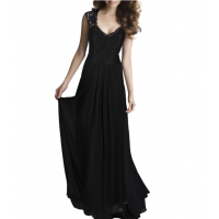 Princess Style With Long Lace Hollow Small Back V Neck Maxi Dress WC-83BK