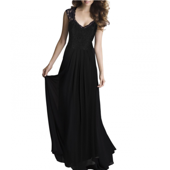 Princess Style With Long Lace Hollow Small Back V Neck Maxi Dress WC-83BK image