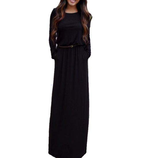 Women's New Maxi Round Neck With Leather Belt Long Sleeves Dress WC-82BK image