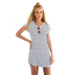 Women Striped Sea Soul Waist Round Neck Short Mini Dress WC-76GR