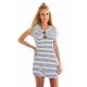 Women Striped Sea Soul Waist Round Neck Short Mini Dress WC-76GR