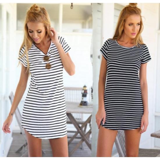 Women Striped Sea Soul Waist Round Neck Short Mini Dress WC-76GR image