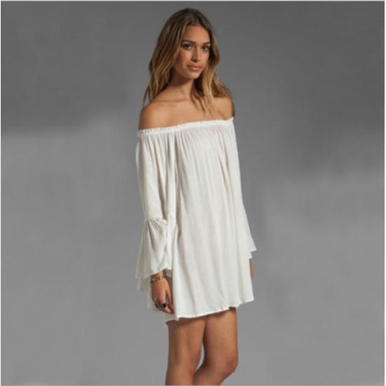 New Off the Shoulder Loose Women Chiffon Long Sleeve Shirt WC-77W