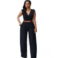 Women Irregular High Waist V Wide Legs Pants Dress WC-79BK