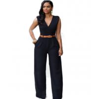 Women Irregular High Waist V Wide Legs Pants Dress WC-79BK