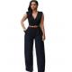 Women Irregular High Waist V Wide Legs Pants Dress WC-79BK image