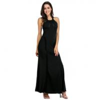 Women Body Tight Geometric Stitching Sexy Black Color Party Dress WC-80BK