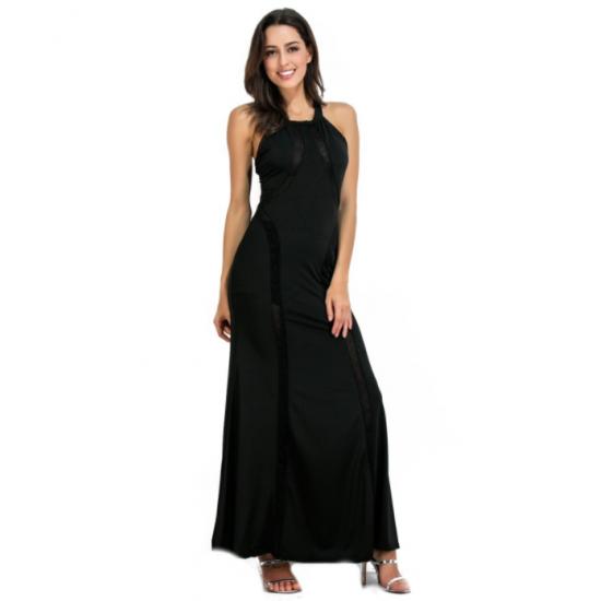 Women Body Tight Geometric Stitching Sexy Black Color Party Dress WC-80BK image