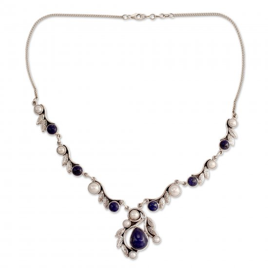 Tropical Fruit Pearl Lapis Lazuli and Sterling Silver Necklace from India ANDN-28