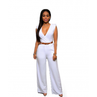 Women Irregular High Waist V Wide Legs Pants Dress WC-79WT