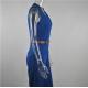 Women Irregular High Waist V Wide Legs Pants Dress WC-79BL image