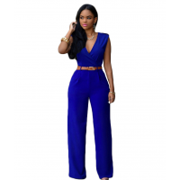 Women Irregular High Waist V Wide Legs Pants Dress WC-79BL