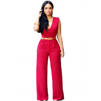 Women Irregular High Waist V Wide Legs Pants Dress WC-79RD