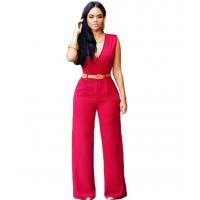 Women Irregular High Waist V Wide Legs Pants Dress WC-79RD