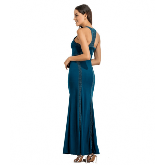 c642690bea Women Body Tight Geometric Stitching Sexy Blue Color Party Dress WC-80BL  image