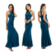 Women Body Tight Geometric Stitching Sexy Blue Color Party Dress WC-80BL image
