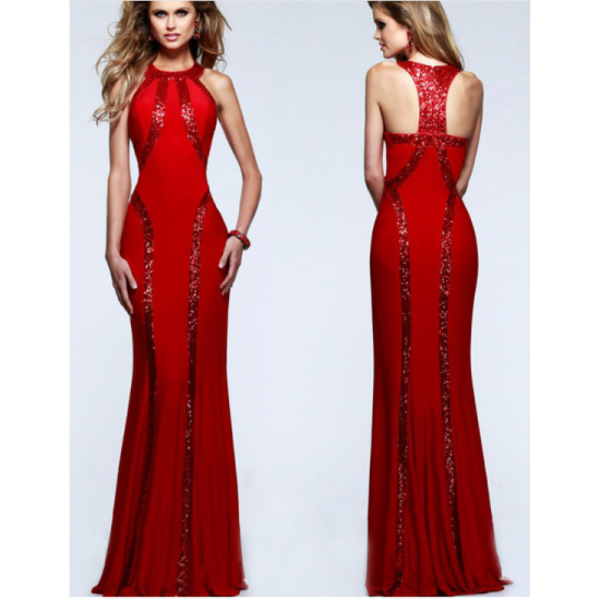 Women Body Tight Geometric Stitching Sexy Red Color Party Dress WC-80RD image