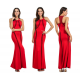 Women Body Tight Geometric Stitching Sexy Red Color Party Dress WC-80RD